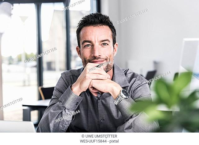 Portrait of a confident businessman, sitting in office