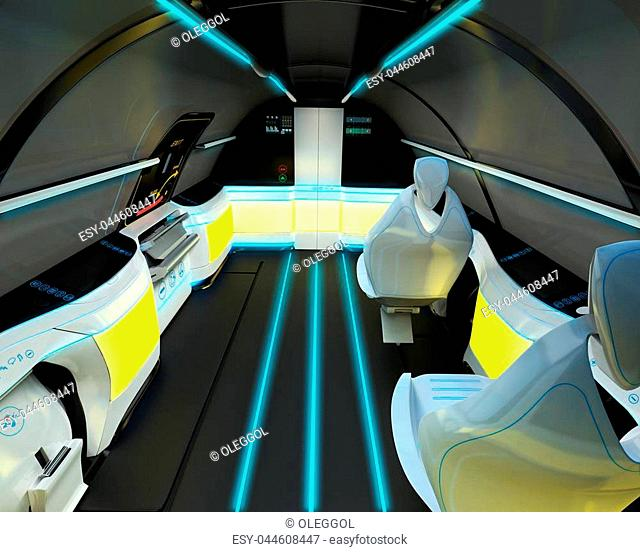 Futuristic interior design of business class aircraft. 3D illustration