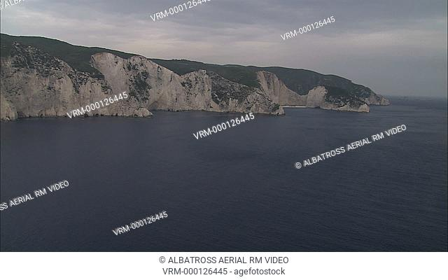 Aerial HD video of sunked boad, Shipwreck in Zakinthos Island