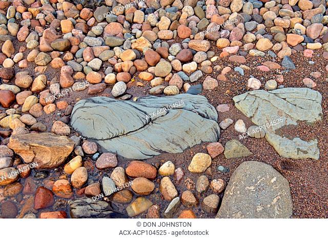 Beach stones along Ennadai Lake shoreline, Arctic Haven Lodge, Ennadai Lake, Nunavut, Canada