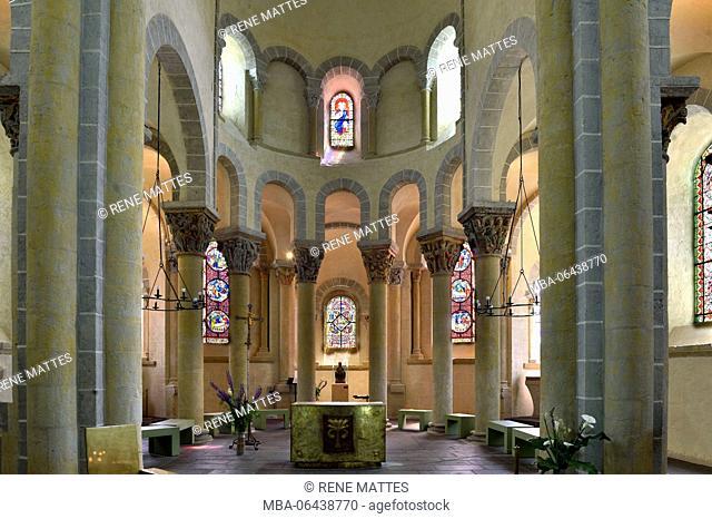 France, Puy de Dome, Parc Naturel Regional des Volcans d'Auvergne (Auvergne Volcanoes Natural Park), Saint Nectaire, the romanesque church