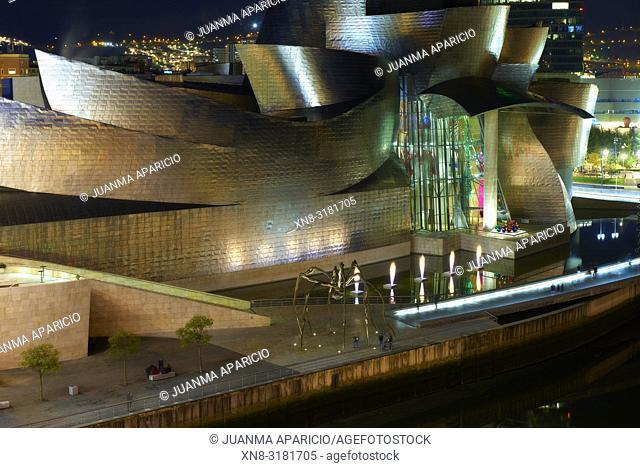 Guggenheim Museum at Night, Bilbao, Biscay, Basque Country, Spain, Europe