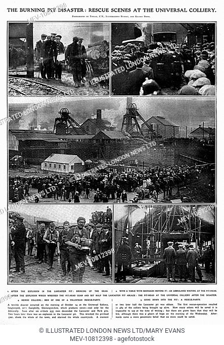 Rescue scenes as pictured in The Illustrated London News at the Senghenydd Colliery Disaster, near Caerphilly, Glamorgan, South Wales