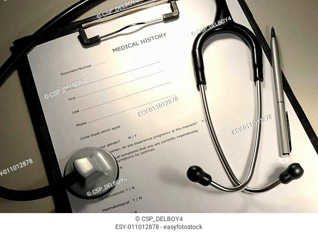 patient medical history form with stethoscope