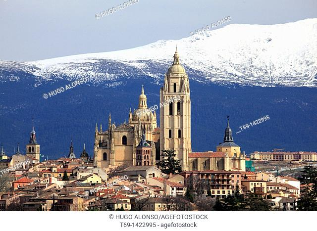 View of the Cathedral of Segovia and the mountains beyond