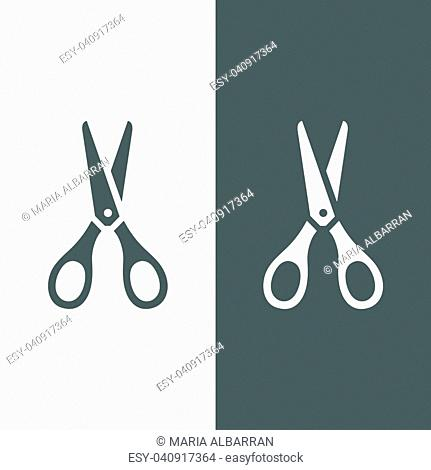 Scissors icon on dark and white background