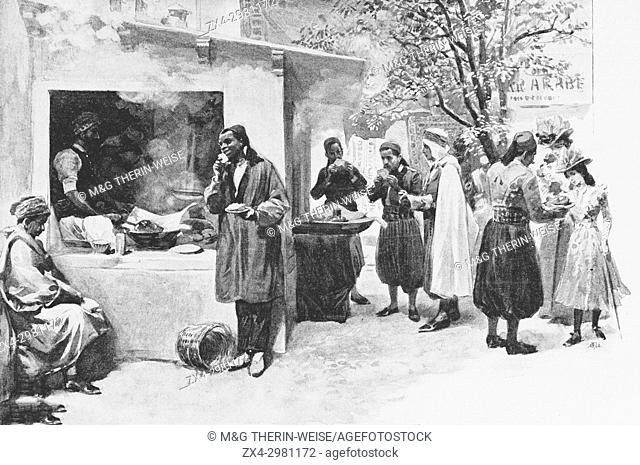Tunisian Pavilion, Doughnut shop, Universal Exhibition 1900 in Paris, Picture from the French weekly newspaper l'Illustration, 15th September 1900