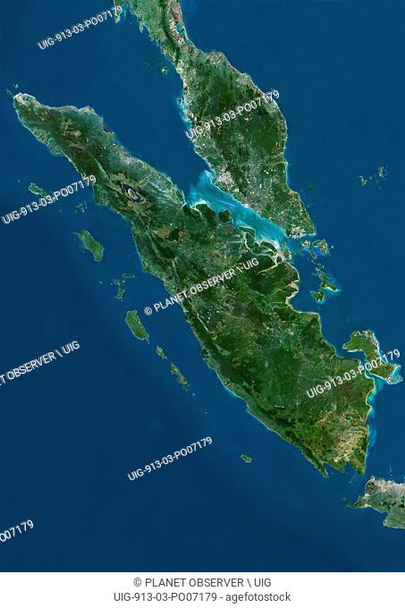 Satellite view of Sumatra, Malaysia and Singapore. This image was compiled from data acquired by Landsat satellites