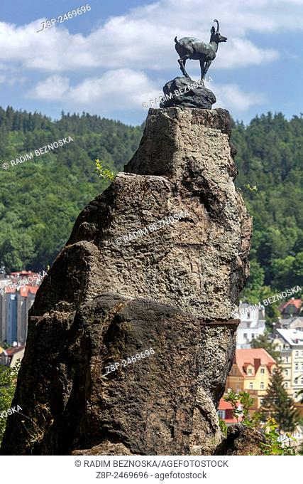 Karlovy Vary. The symbol of the spa is chamois, a bronze statue stands above the town. Look-out Stags Leap