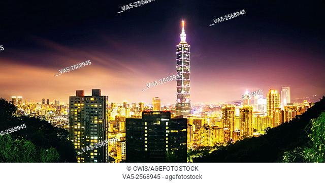 Taipei,Taiwan - Panorama of Taipei City and 101 Tower at night from Elephant Mountain