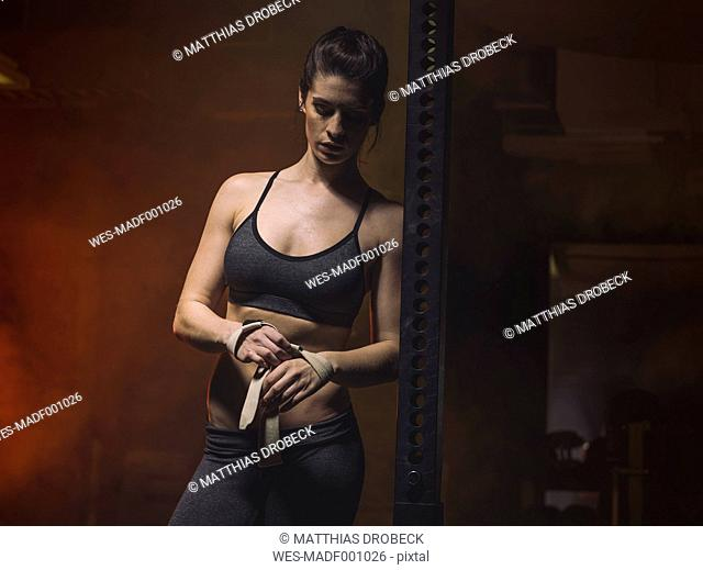 Fitness, woman in gym, ribbons