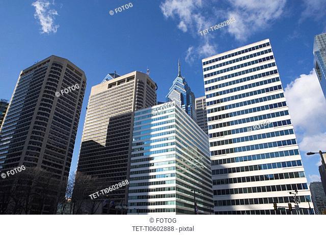 USA, Pennsylvania, Philadelphia, low angle view of skyscrapers