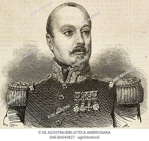 Portrait of Francois Achille Bazaine (1811-1888), French general, illustration from L'Illustration, Journal Universel, No 662, Volume XXVI, November 3, 1855