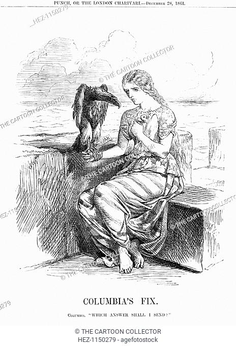'Columbia's Fix', 1861. Columbia, representing the United States, sits overlooking the ocean. To her breast she holds the dove of peace
