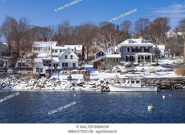 USA, New England, Cape Ann, Massachusetts, Annisquam, Lobster Cove, winter