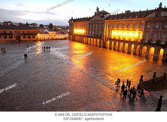 Santiago de Compostela by night Obradoiro square from above La Coruna Galicia Spain