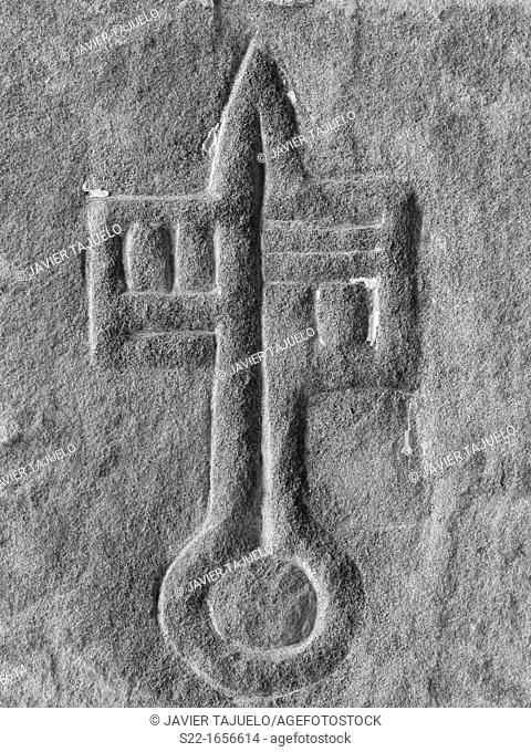 Stone carved symbol, San Juan de La Peña, Aragon, Spain