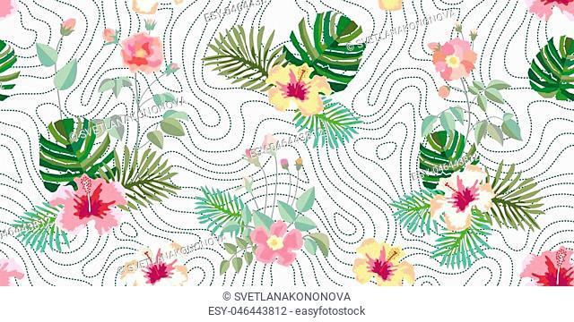 Summer textile collection. On dark green background