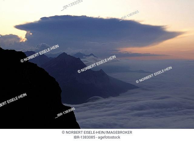 Mittenwalder Hoehenweg high route, Mittenwald in clouds, Karwendel mountains, Bavaria, Germany, Europe
