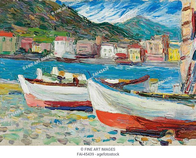 Rapallo, Boats by Kandinsky, Wassily Vasilyevich (1866-1944)/Oil on canvas/Expressionism/1905/Russia/Private Collection/24x32/Landscape/Painting/Rapallo