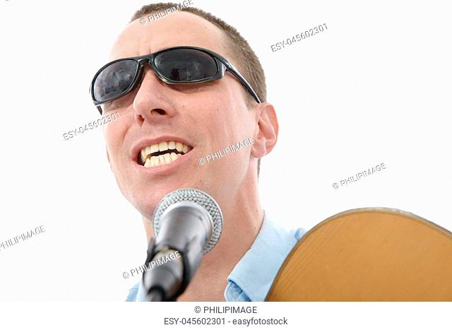 young handsome man singing