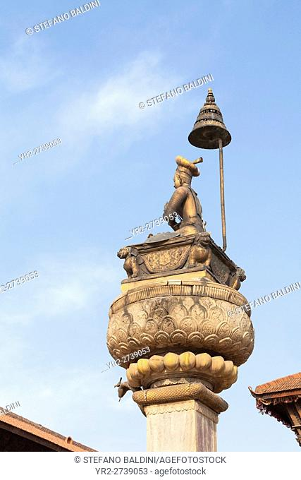 Statue of King Bhupatindra Malla, Durbar Square, Bhaktapur, Nepal