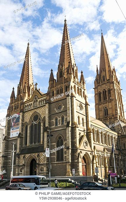St Pauls Cathedral in Flinders Street, Melbourne, Australia, winter 2017