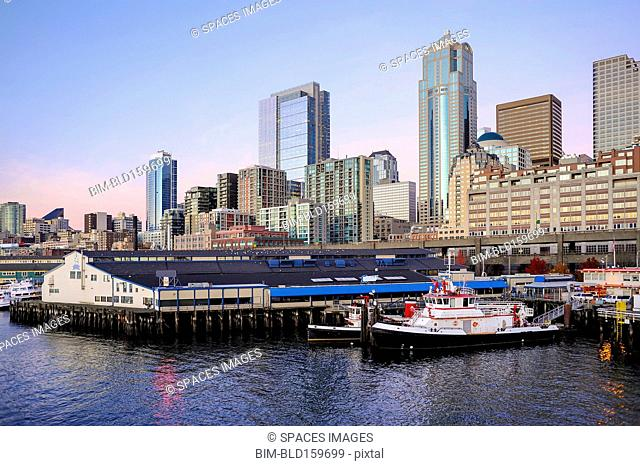 Highrise buildings in Seattle cityscape on waterfront, Washington, United States