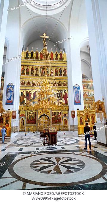 Inside of the orthodox Cathedral of Togliatti, Togliatti, Samara Region, Russian Federation, Russia