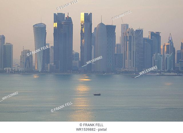 West Bay Central Financial District from East Bay District, Doha, Qatar, Middle East