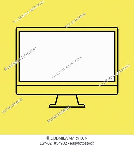 monitor PC design template element for web and mobile applications. Stroke thin line flat minimalistic style. Vector illustration eps10