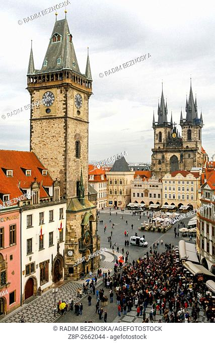 The city center with Town Hall Tower, Old Town Square, Prague, Czech Republic