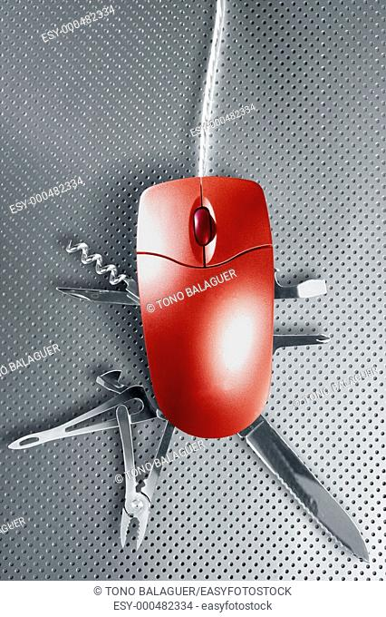 Red mouse metaphor pretendig to be a swiss multifunction knife
