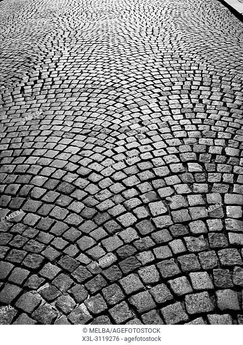 Cobbled street, Prague. Czech Republic
