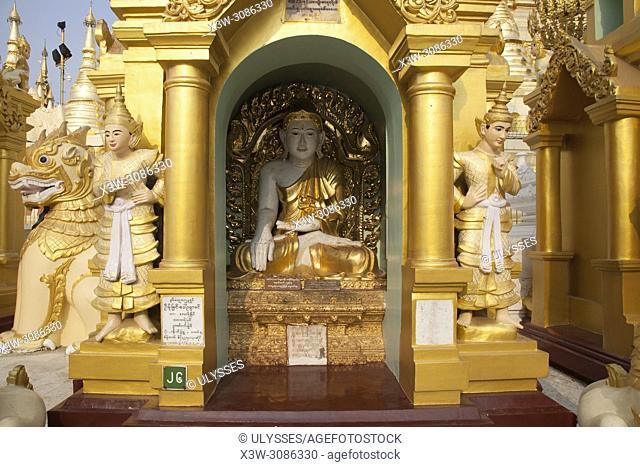 Detail of a stupa, Shwedagon pagoda, Yangon, Myanmar, Asia