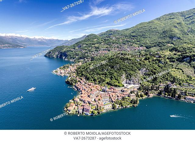 Aerial view of the picturesque village of Varenna surrounded by Lake Como and gardens Lecco Province Lombardy Italy Europe