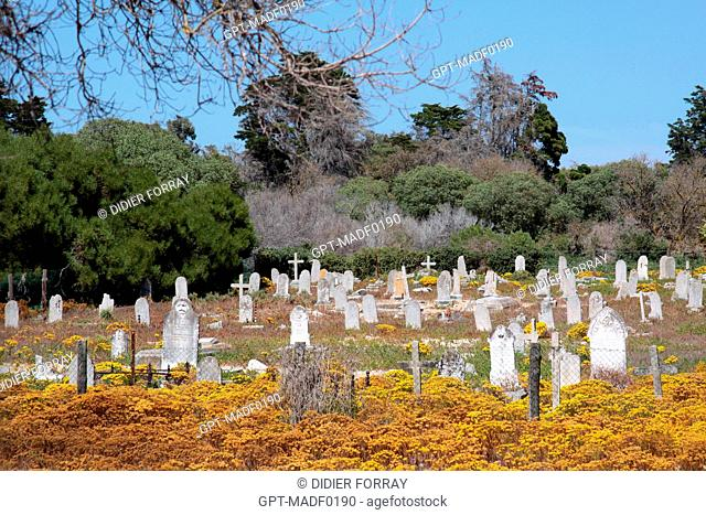 LEPERS' CEMETERY ON ROBBEN ISLAND WHERE NELSON MANDELA WAS IMPRISONED DURING APARTHEID, TABLE BAY, WESTERN CAPE PROVINCE, SOUTH AFRICA