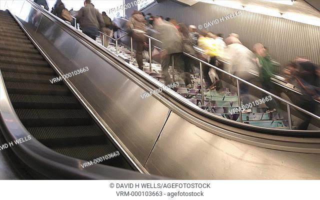 Time-lapse animation of crowds of commuters on the stairs at Penn Station in New York, New York, United States