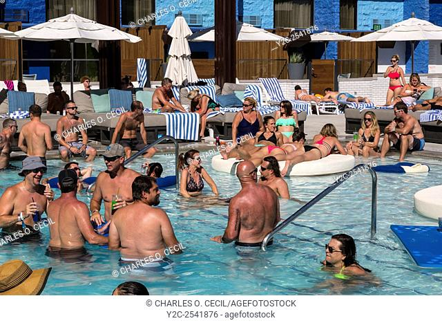 Las Vegas, Nevada. Millennials Relaxing at the Pool, The Linq Hotel