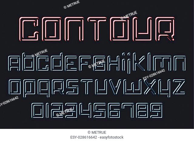 set of stylish, neon light alphabet letters and numbers. vector contemporary font type collection. regular, outline shiny style typeface design