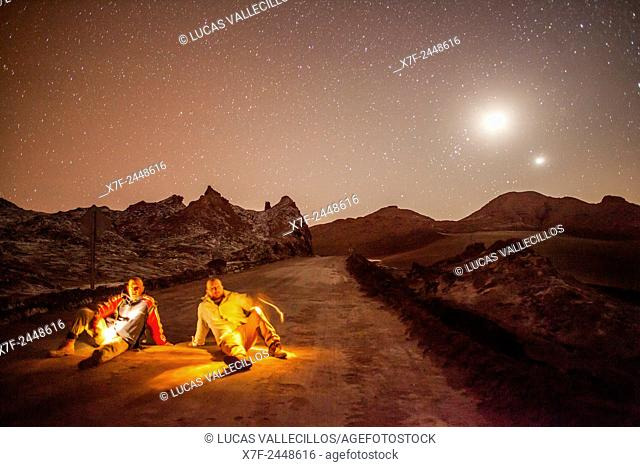 The heaven, from Valle de la Luna (Valley of the Moon ) near San Pedro de Atacama, and salt deposited on the ground, Atacama desert