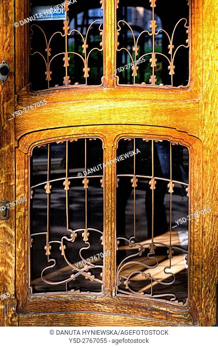 entrance door - Art Nouveau Solvay Hotel by Victor Horta, together with three other town houses of Victor Horta, including Horta's own house and atelier