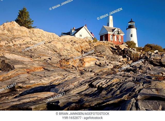 Rock striations on the cliffs below Pemaquid Point Lighthouse near Bristol Maine, USA