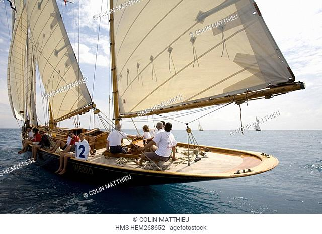 France, Alpes Maritimes, Antibes, Voiles d'Antibes, Regatta of ancient vintage sailing boats, trophy of yachting Panerai