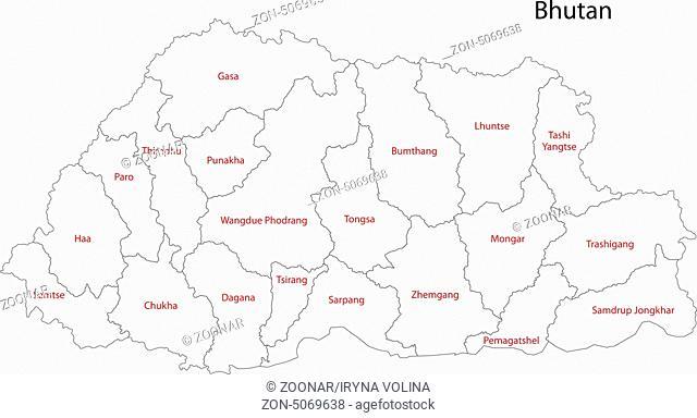 Contour Bhutan map