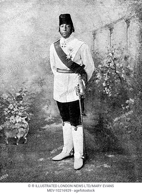 Photograph showing the Sultan of Morocco wearing a Russian uniform, 1906. Owing to a prejudice against foreigners, common in Morocco at this time