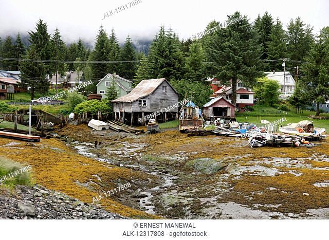 View of homes along the coast at Pelican, Chichagof Island, Southeast Alaska, USA