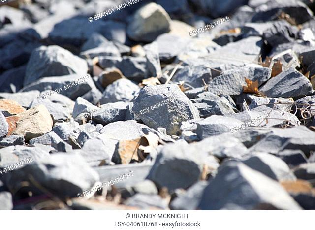Close up of sharp, gray gravel rocks and leaves