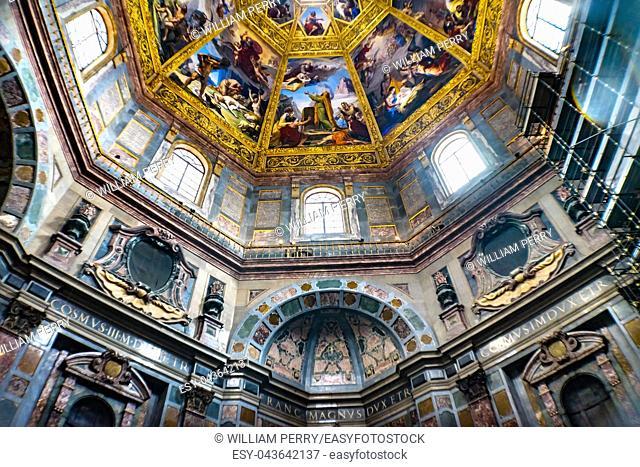 Biblical Paintings Dome Tombs San Lorenzo Medici Church Florence Tuscany Italy. Family Church Medici Family