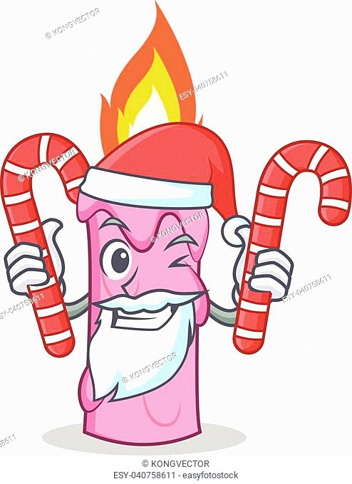 Santa with candy candle character cartoon style vector illustration